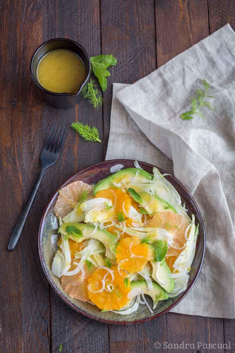 Salade de fenouil, agrumes et avocat