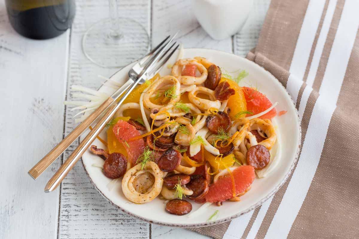Salade d'encornets aux agrumes et fenouil