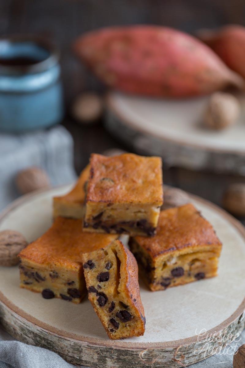 Gâteau à la patate douce, noix et chocolat
