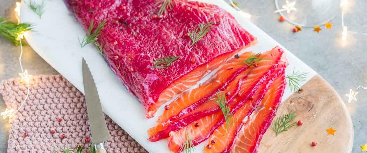 Gravelax de saumon à la betterave