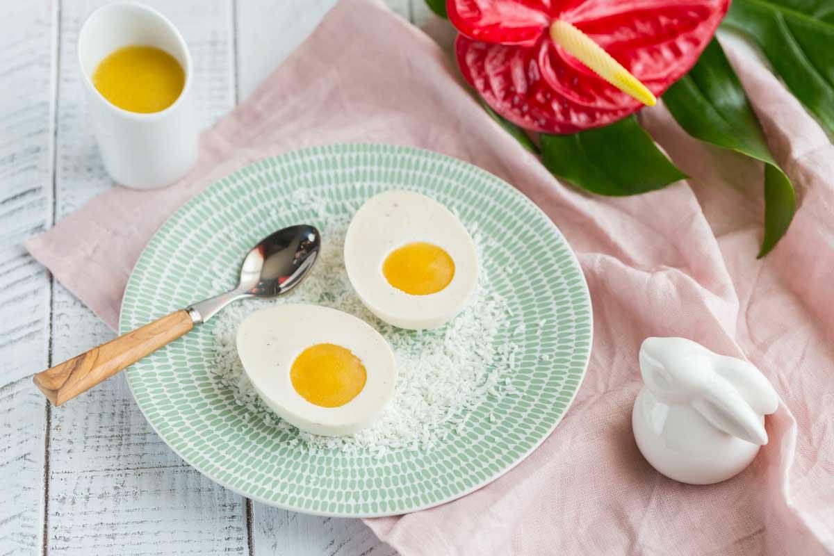 Panna Cotta Noix de coco et Mangue en forme d'oeuf pour Pâques