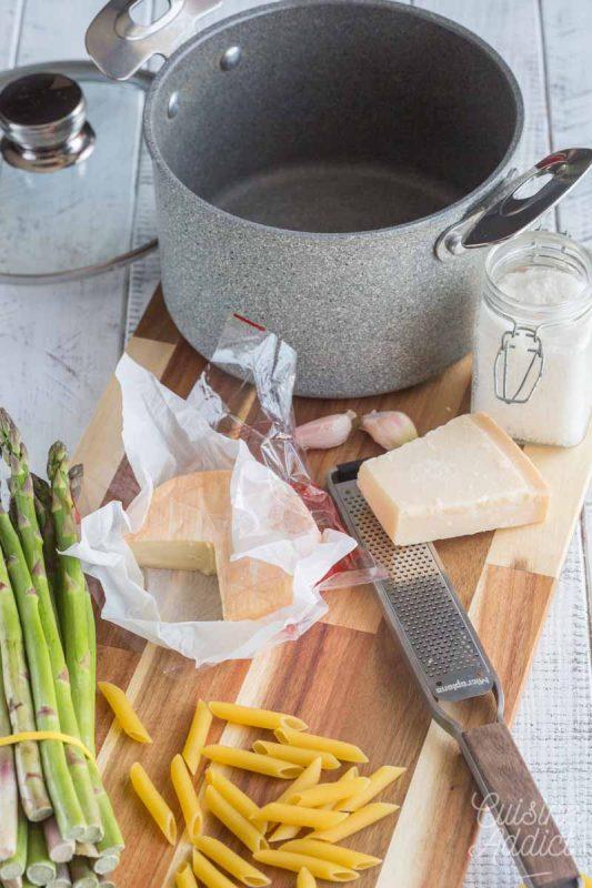 Préparation penne au poulet et asperges