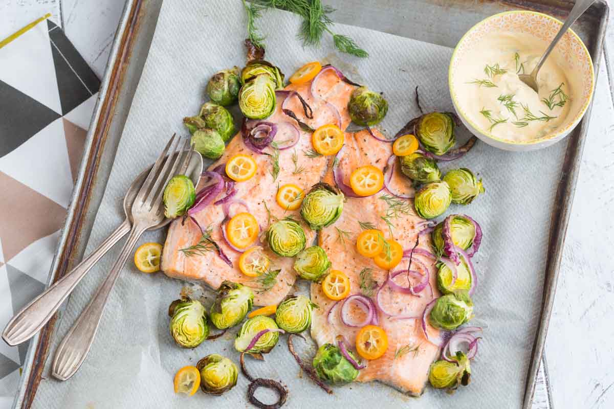 Baked Trout with Brussels sprouts and</br>Kumquats