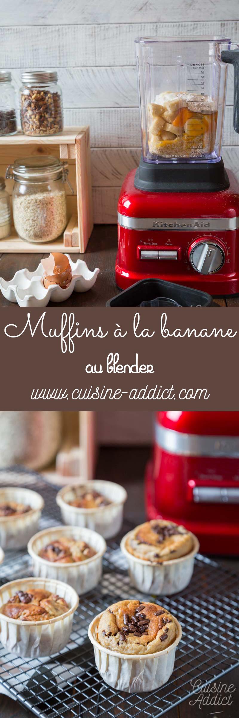 Des muffins à la banane réalisés au blender sans farine et sans beurre.
