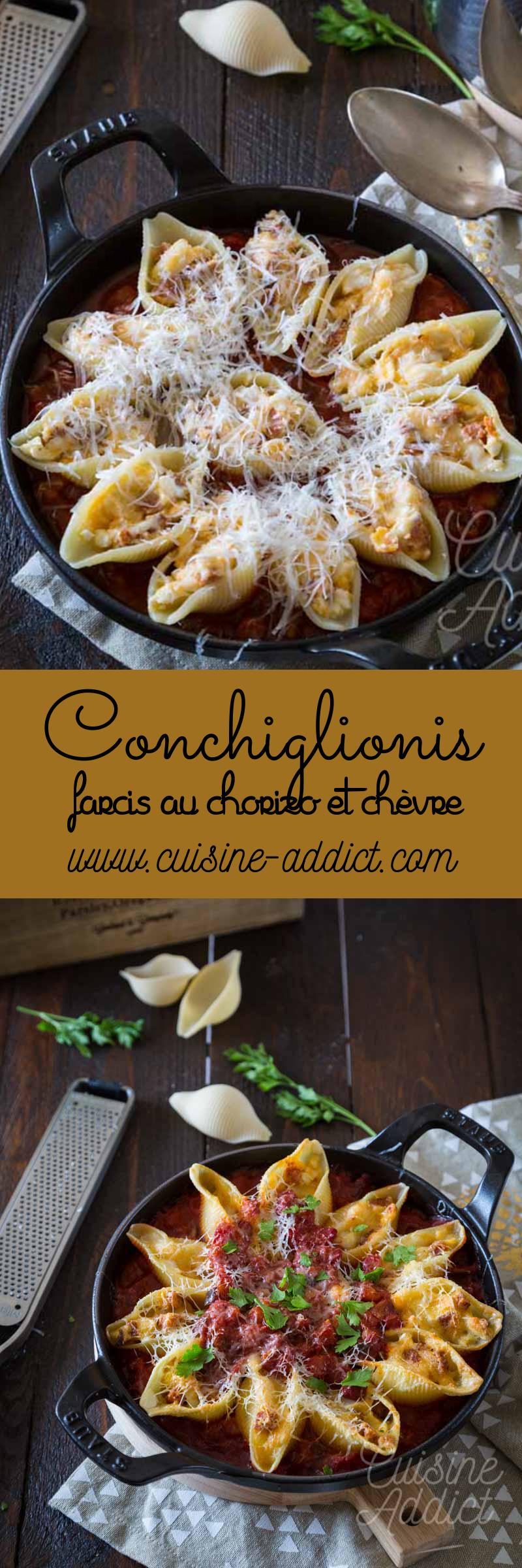 Conchiglionis farcis au chorizo et fromage de chèvre
