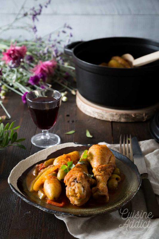 Poulet poivron, olives et pomme de terre