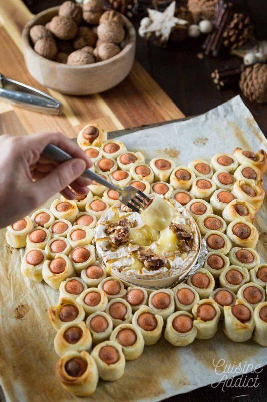Feuilleté saucisse et camembert rôti