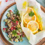 Papillotes de poulet au curcuma & Quinoa aux fruits