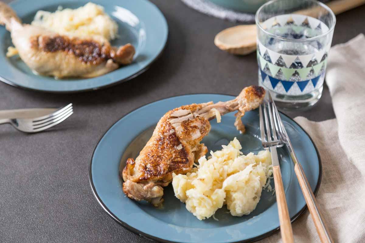 Recette de poulet et purée à la choucroute