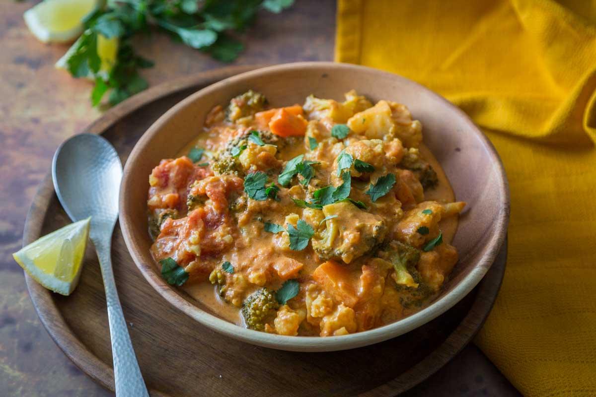 Curry végétarien au chou fleur et brocoli