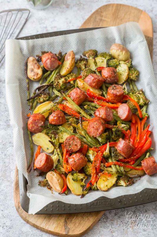Plaque de saucisses et légumes