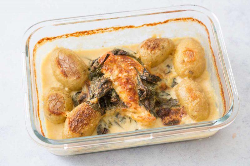 Poulet au parmesan et épinards
