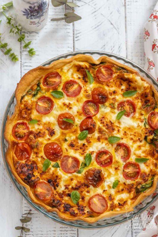 Quiche aux épinards, tomates cerises et ricotta