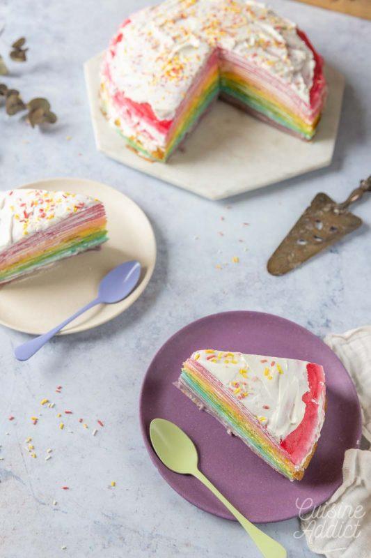 Gâteau de crêpes façon rainbow cake