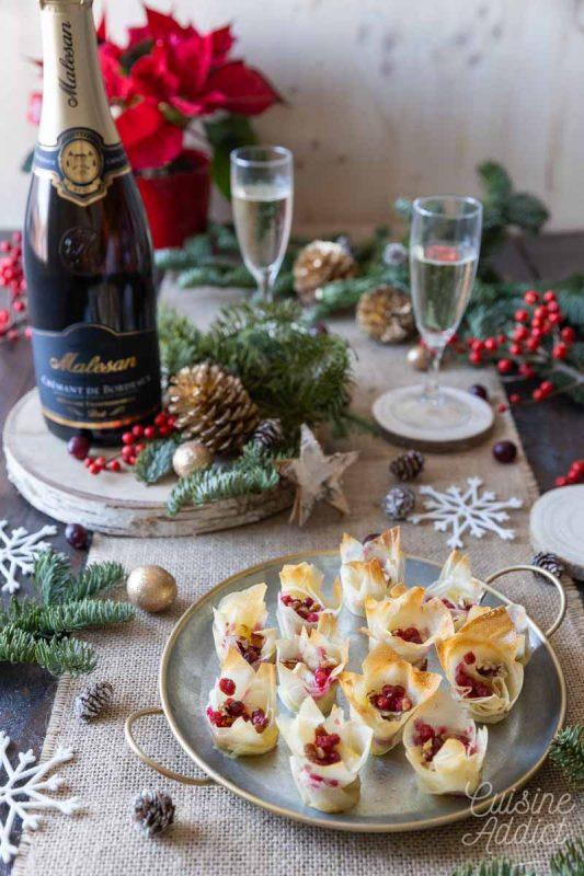 Accords mets et vins pour l'apéritif de Noël