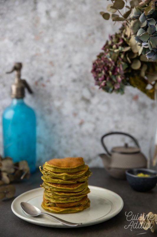 Pancakes au thé matcha