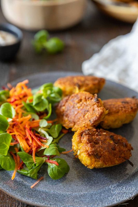 Chickpea croquettes with vegetables