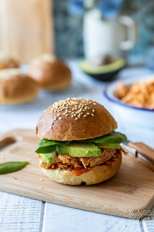 Burger au pulled chicken