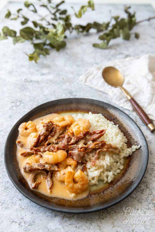 Crevettes sauce crémeuse à la mozzarella