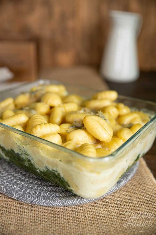 Gratin de gnocchis aux épinards et gorgonzola