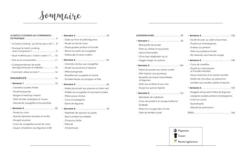Sommaire du livre Le batch cooking avec Companion c'est facile!
