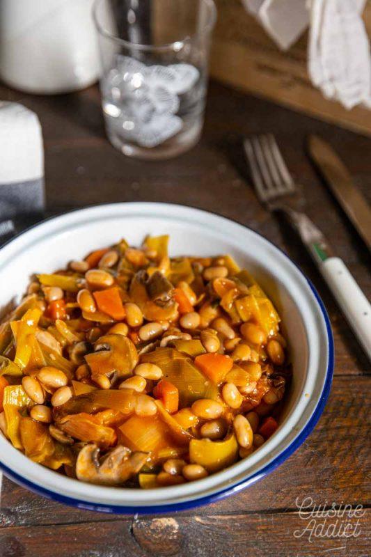 Cocotte de poireaux aux haricots blancs