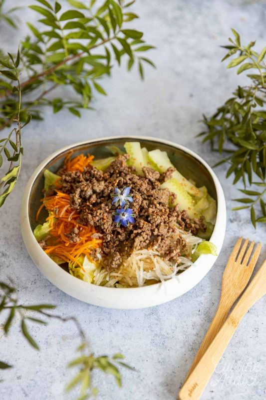 Salade au boeuf haché, soja et gingembre
