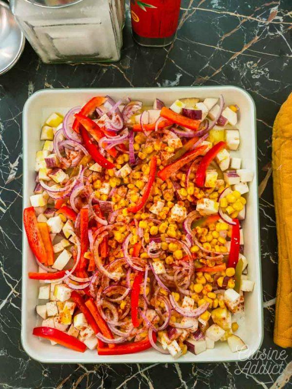 Préparation des légumes rôtis