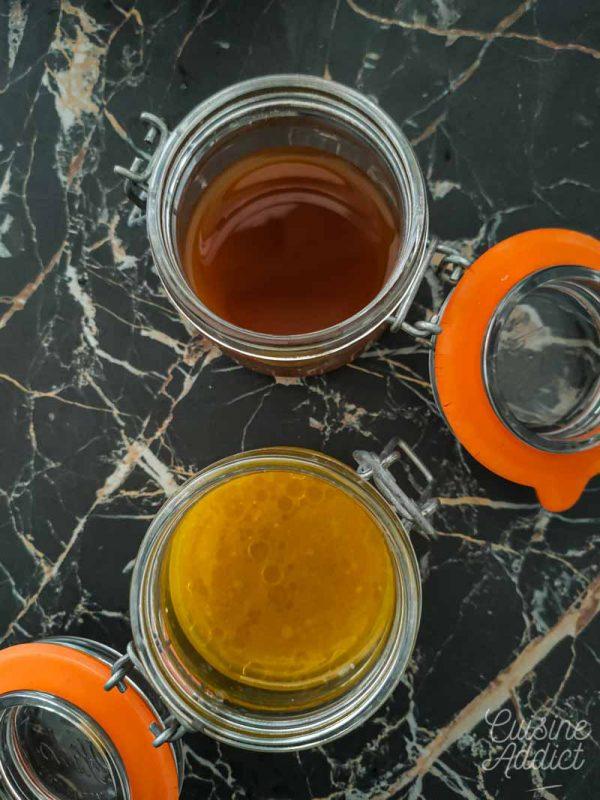 Préparation de la sauce et de la vinaigrette