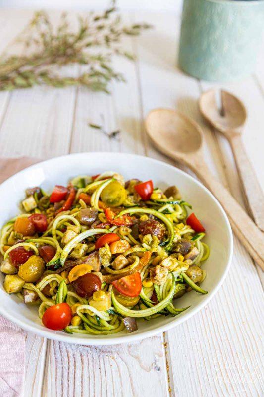 Salade aux spaghetti de courgettes