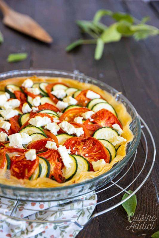 Tarte à la courgette, tomate et feta