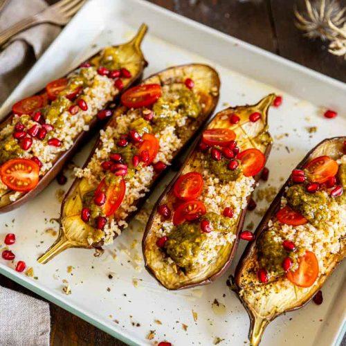 Recette d'aubergines rôties au boulgour
